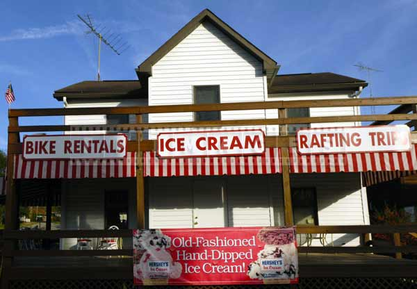 Vintage red and white ice-cream shop
