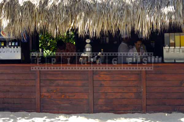 Tiki bar with thatched roof, travel images