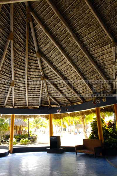 Interior structure of a thatched roof, architectural photography