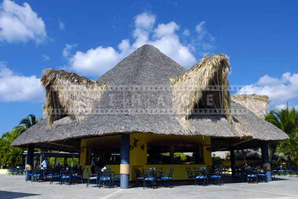 Tiki bar with large thatched roof, pictures of buildings