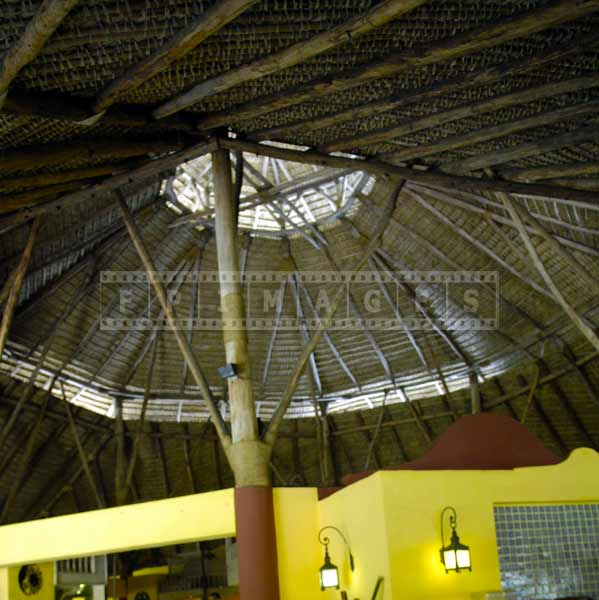 Large dome of thatched roof, architectural photography