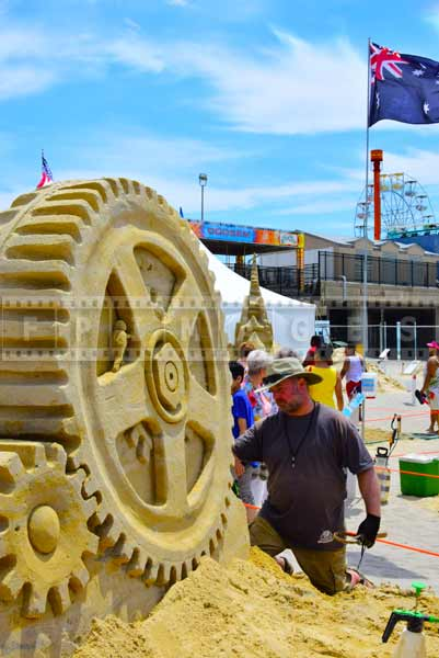 Sand sculpture artist at sand castle competition