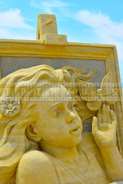 Detail of a sand sculpture by Russian sand artist Pavel Mylnikov