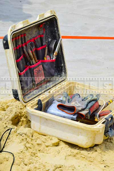 Toolbox with sand sculpture tools often include forks and spoons