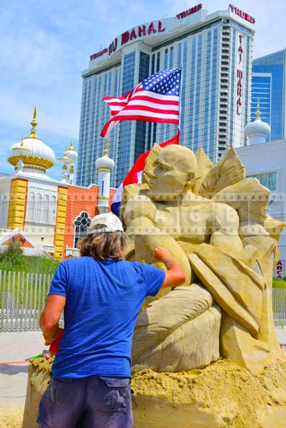 Sand sculpture, Atlantic City beach near Taj Mahal Hotel and Casino