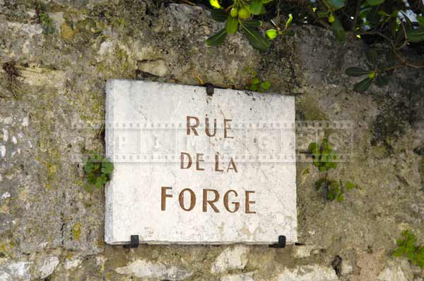 rue de la Forge stone sign