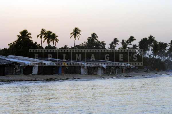 Beachfront marketplace at sunrise, Dominican Republic cityscapes