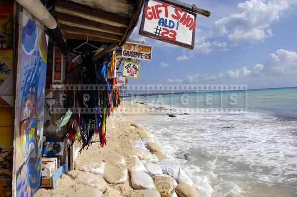 Ocean shore very close to the gift shops, Caribbean Island market