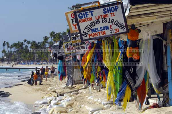 dominican republic market with gift shops, travel images