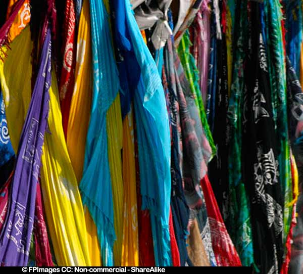 Colorful fabrics at Dominican Republic Market, gift ideas