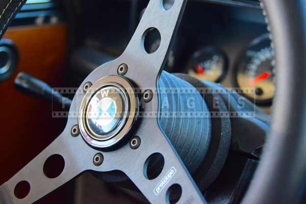 Steering wheel, classic car interior image