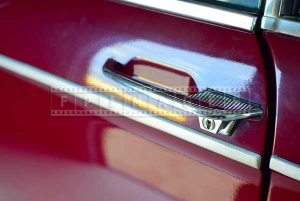 Chrome door handle, industrial car design detail