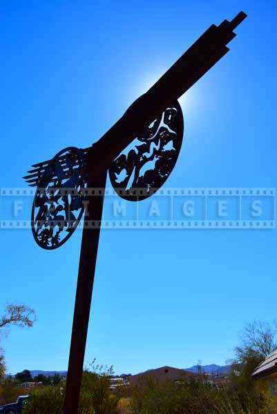 GeoKinetics steel sculpture at visitors center, symbolizes delicate balance in nature