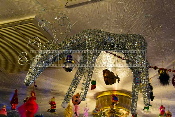 Ceiling holiday decorations - sparkling reindeer