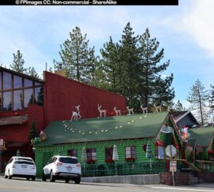 Christmas decorations at Evergreen cafe exterior