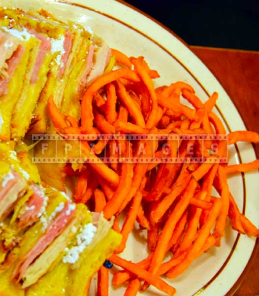 Sweet potato fries and club sandwich, food pictures