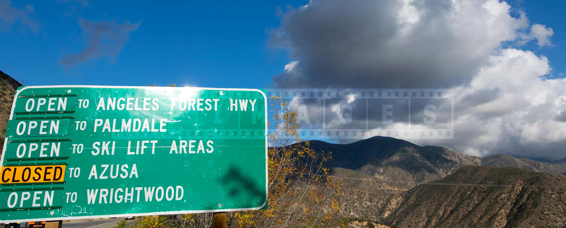 angeles forest highway open sign