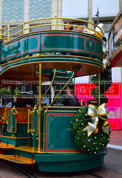Holiday decorations on the trolley