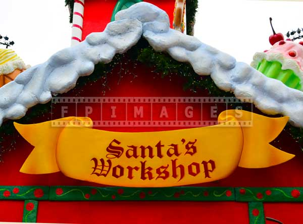 Santa's Workshop sign, holiday decorations