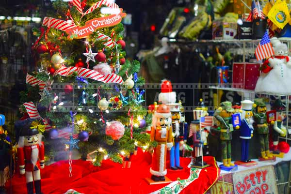 Christmas toys and Christmas tree store window