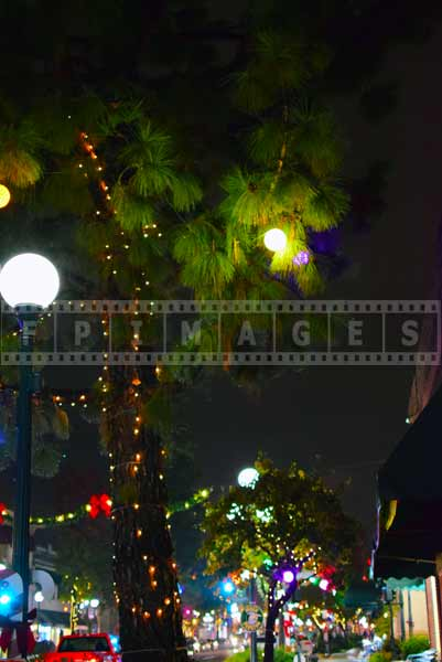Christmas lights and decorations, night street photography