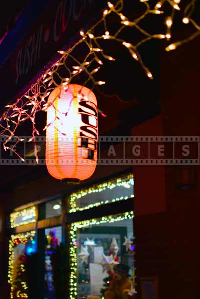 Sushi restaurant street lights, Monrovia cityscapes