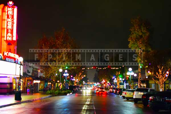 Monrovia cityscape at night, California, USA