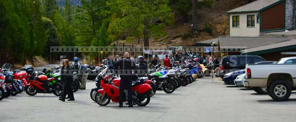 dozens of motorcycles at Newcomb's Ranch
