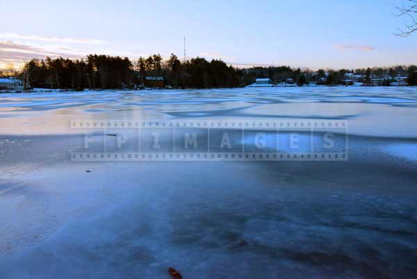 Cold winter morning on the lake, winter pictures