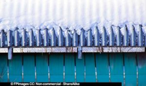 Snow covered pipeline industrial abstract image