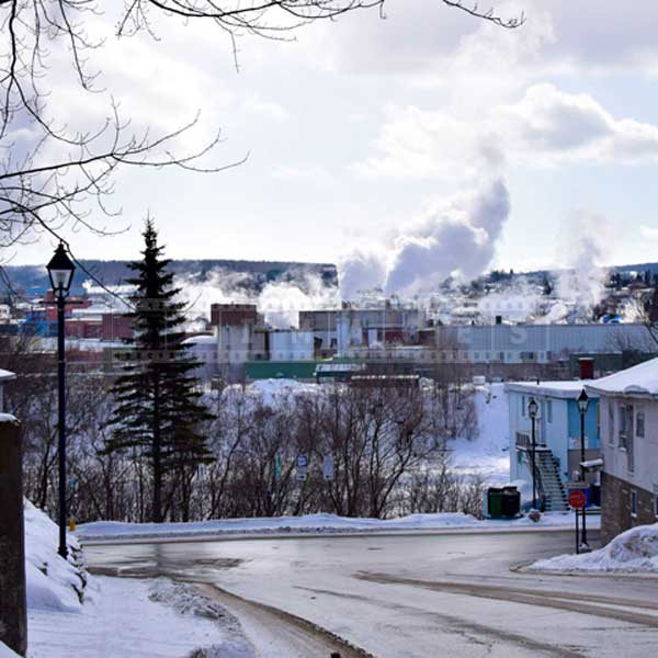 Looking at Madawaska paper mill from Edmundston, winter pictures