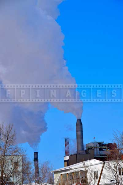 Pulp mill large smoke stacks