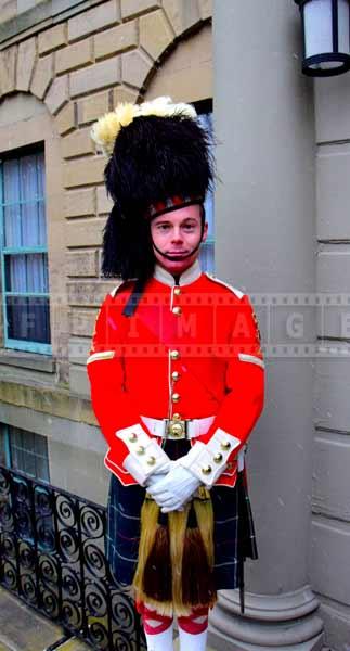Guard in a highlander uniform