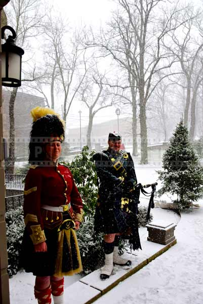 Guards covered in snow