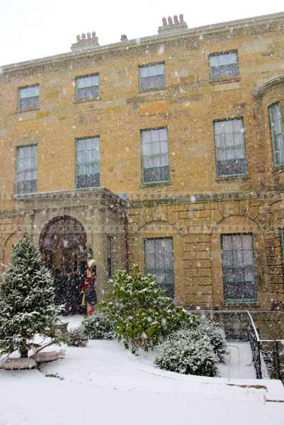 Heavy snow falling at government house in Halifax, Nova Scotia