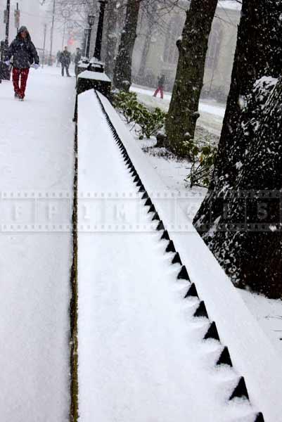 winter street scene near government house
