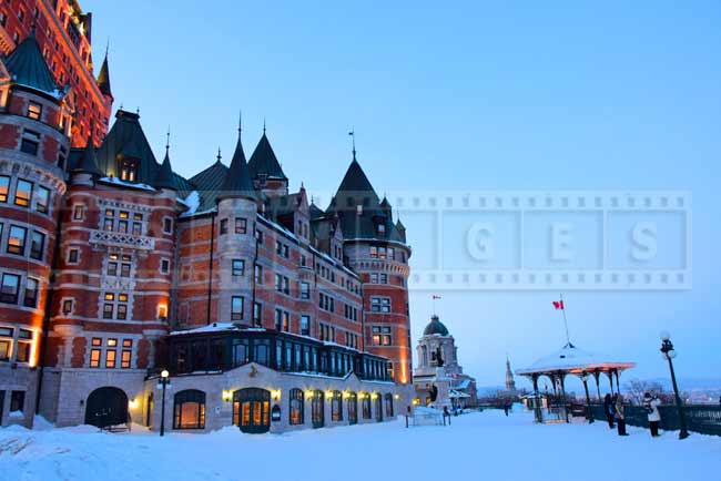 Chateau Frontenac and Governor's Promenade, Quebec city winter cityscape