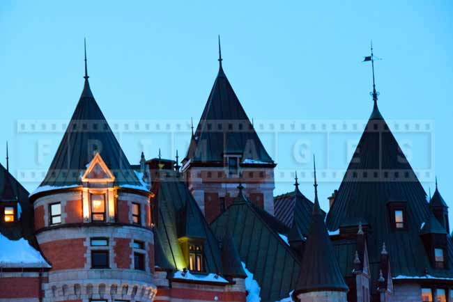 Chateau Frontenac Copper Roof Line With Towers And Spires