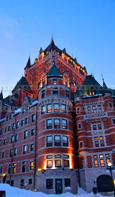 Low angle view of the towering Chateau Frontenac