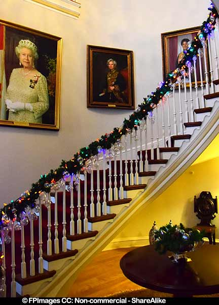 Beautiful staircase and portrait of the Queen Elizabeth II