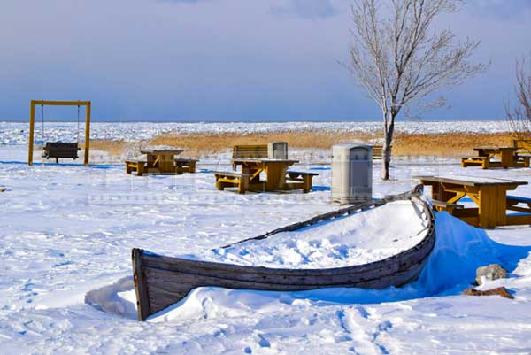 Scenic winter pictures of St. Lawrence shores in La Pocatiere
