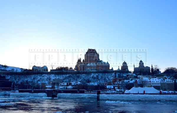 Quebec city skyline, winter cityscape