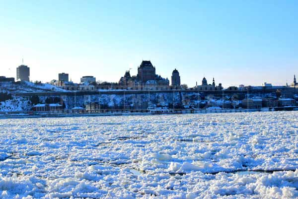 Quebec city winter urban landscape