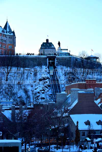 Old Quebec funicular railway and old town