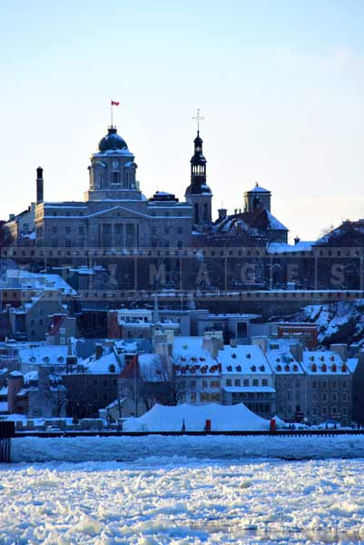Scenic old Quebec urban landscape, winter picture
