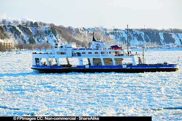 Lomer Gouin passenger ferry in winter