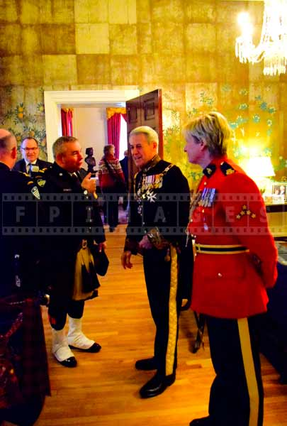 Nova Scotia Lieutenant Governor talking to officers