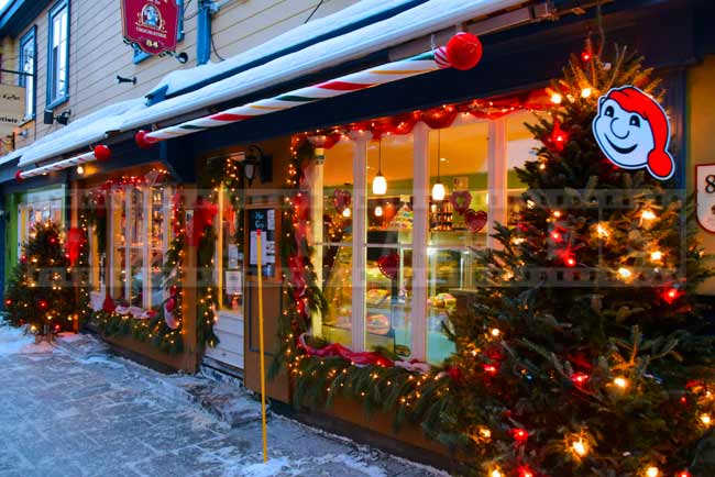 Chocolate shop with outdoor Christmas decorations