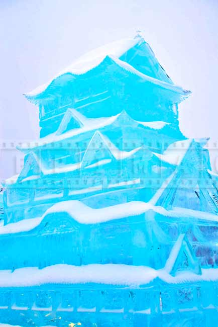 Ice sculpture replica of Japanese Himeji Castle