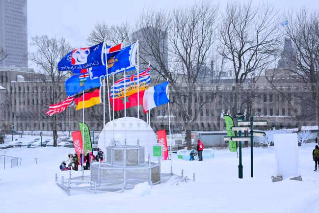 Colorful flags in Quebec city winter park